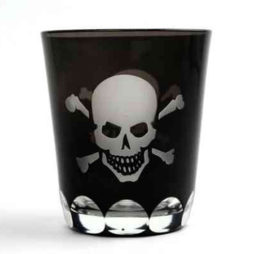 Skellington Skull And Crossbones Glass