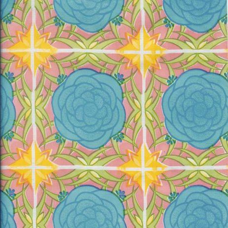 Mosaic Blue & Pink Oil Cloth