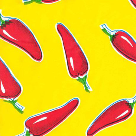 Chile Peppers Red On Yellow Oil Cloth