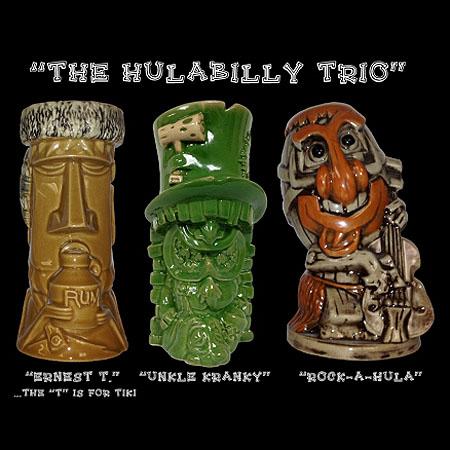 The Hulabilly Trio Tiki Mugs