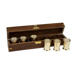 Brass Anchor Shot Glasses In Box