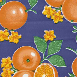 Oranges Blue Print Oil Cloth