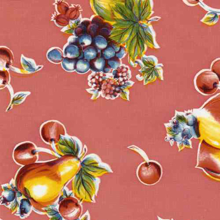 Pears & Apples Pink Print Oil Cloth