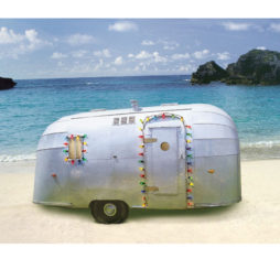 Trailer On Beach Xmas Card Box