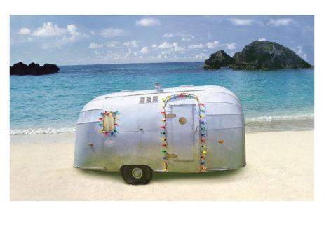 Trailer On Beach Xmas Card Box
